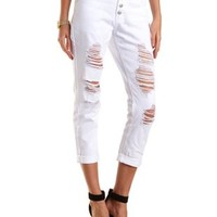 """Refuge """"Boyfriend"""" White Cropped Jeans by Charlotte Russe"""