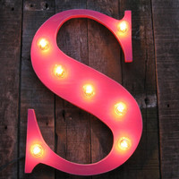"18"" Wood letter  light, distressed, wedding decor, vintage chic, home decor"