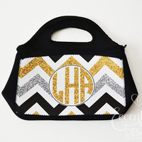 Glitz Gold and Glamour - Monogram Lunch Bag or Purse