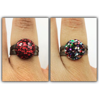 Pair of glitter rings / Multi color and red jewelry ring / gun metal and black ring / sparkle jewelry / fun glitter accessories