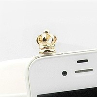 iClover Earphone Jack Accessories Gold Crown / Cell Charms / Dust Plug / Ear Jack For Iphone 4 4S / iPad / iPod Touch / Other 3.5mm Ear Jack