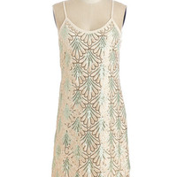 ModCloth Vintage Inspired Mid-length Spaghetti Straps Shift Come on, Let's Deco! Dress