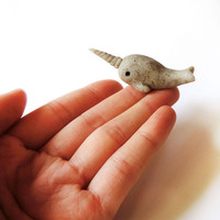 Stone Narwhal Totem Miniature Polymer Clay Animal Figure
