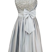 Alivila.Y Fashion Satin Strapless Sequins Cocktail Homecoming Party Dress 8122