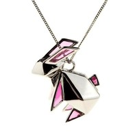 Big Rabbit Origami Pink - Silver | Origami Jewellery