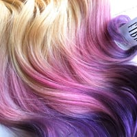 Blonde Ombre, Blonde hair extensions dipped in purple haze and pink, Lauren Conrad, Dip Dye, 7 Pieces, 16""