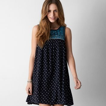 AEO EMBROIDERED SHIFT DRESS