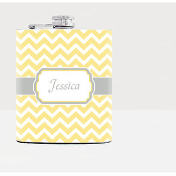 Yellow chevron personalized flask Gift for girlfriend Bridesmaid gifts Flasks for women Custom name Zig Zag Pattern Hip Flask