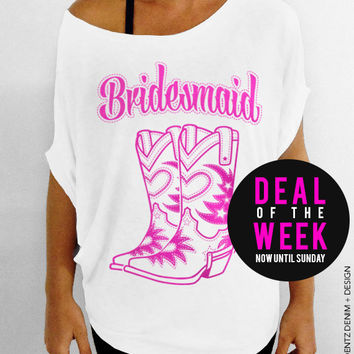 Cowgirl Boots Bridesmaid - White with Pink Slouchy Tee