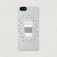 Takeout Coffee Cup Surrounded By Love Hearts iPhone 4 4s 5 5s 5c Case