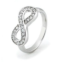 TIONEER Sterling Silver Channel Set Infinity Symbol Ring, Size 6.5