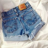 Levi brand high waisted shorts mid/ligh wash