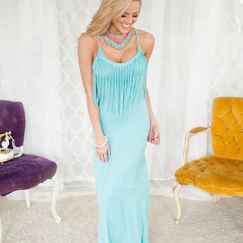 Front Fringe Fabulous Maxi Dress Mint