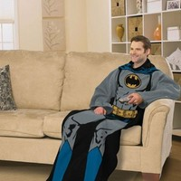 DC Comic Batman, Batman in Black 48-Inch-by-71-Inch Adult Comfy Throw with Sleeves by The Northwest Company