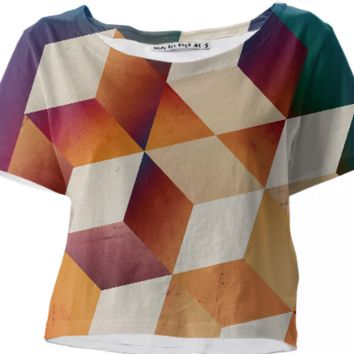 Oil slick Cubes crop top created by duckyb | Print All Over Me