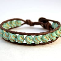 Turquoise beaded cuff. Rustic mint and gold bracelet