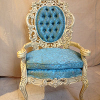 Vintage Baroque Open Arm Chair With Carved  Wood With Antique White Finish With Sky Blue Floral Brocade Upholstery