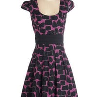 ModCloth Cats Mid-length Cap Sleeves A-line Black Cat It Again Dress