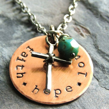 Christian Jewelry, Faith Hope Love Necklace, 1st Corinthians 13, Bible Verse, Cross Necklace, Scripture, Inspirational, Religious Jewelry