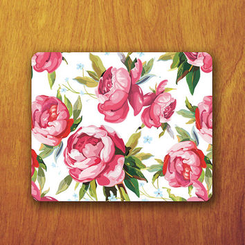 Lace Flower ROSE Mouse PAD Pink Rose Natural Floral Mousepad Painting For Desk Deco Office Work Mouse Couple Rubber Pad Mat Teacher Gift