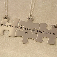 Best F&cking Friends Puzzle Piece Necklaces - Set of 3 - BFF Jewelry, Best Bitches Jewelry - Best Friend Necklace Stainless Steel - Mature