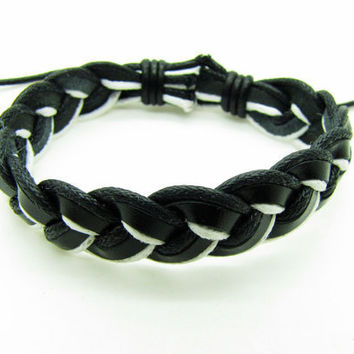Soft Leather and Cotton Ropes Woven Women Jewelry Leather Cuff Bracelet  Women ropes bracelet 1185A