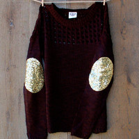 Sequin Elbow Patch Sweater Black Dazzle Patch Sweater Jumper w/Sequin Elbow Patch Women's Christmmas GiftSparkly Elbow Patch Shirt Top