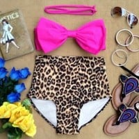 Wet N Wild Bow High Waist Swimsuit - Pink Bow Top and Leopard Print Bottoms - Smoky Mountain Boutique