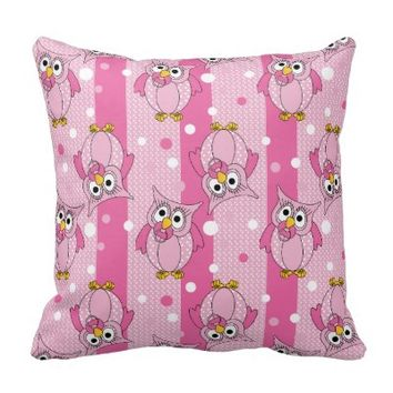 Pink Baby Polka Dotted Owl Throw Pillow