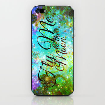 FLY ME TO THE MOON, REVISITED - Colorful Abstract Painting Space Typography Blue Green Galaxy Nebula iPhone & iPod Skin by EbiEmporium
