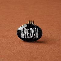 "Cat Lovers ""Meow"" Glass Ring, Adjustable Antique Bronze"