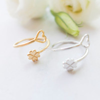 clover heart Ring, clover ring, sideways heart ring, luck & love wrapped ring in gold or silver