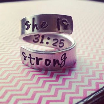 Proverbs 31:25 //Elle est forte //she is strong//spiral hand stamped