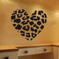 "DIY Olivia Leopard Spots Love Heart Wall Decals Removable wall Sticker Art DIY Vinyl Decor for Teen Boys Girls Bedroom Home Mural Decoration (Black, 23.6"" X 27.6"")"
