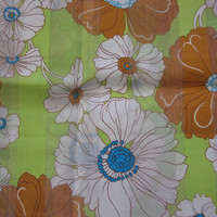 Green & Brown Flower Power Retro Fabric - 1 YARD, 16 INCHES