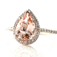 14K Morganite Engagement Ring Diamond Halo Pear Morganite Ring Custom Bridal Jewelry 18K Rose Gold Platinum
