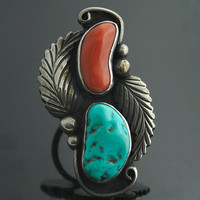 Vintage Navajo Ring - Coral and Turquoise Sterling Silver Ring