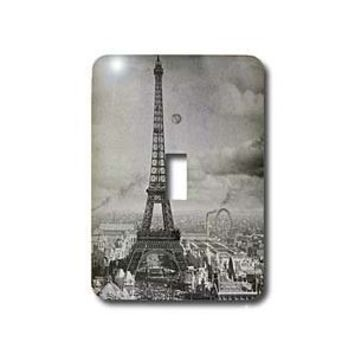 3dRose LLC lsp_6793_1 Eiffel Tower Paris France 1889 Black and White, Single Toggle Switch