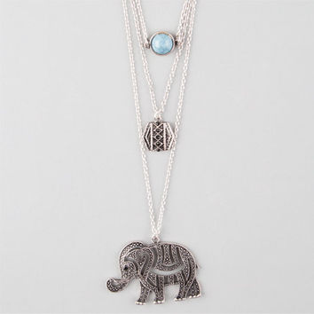 Full Tilt Disc/Stone/Elephant Necklace Silver One Size For Women 24276714001