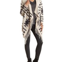 Fringed Aztec Print Cascade Cardigan - Light Taupe Combo
