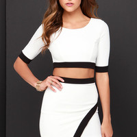 Tickle the Ivories Black and Ivory Two-Piece Dress