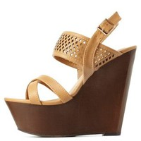 Natural Bamboo Perforated Wooden Platform Wedges by Charlotte Russe