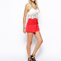 ASOS Festival Short With Tassles - Deep coral