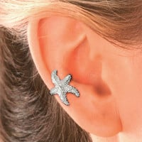 Starfish Ear Cuff in Sterling Silver