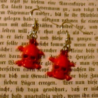 Red Skull Dangle Earrings - You Choose With Silver Or Gold Plated Earring Findings