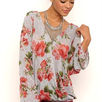 Long Sleeve Floral Print Hatchi Top with Bubble Hem and Open V-Back