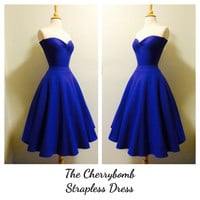 Rockabilly Dark PERIWINKLE Rock n Roll Purple Strapless Dress, 1950s Style Pin Up Bridesmaid Wedding Party Dress