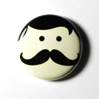 PIN or MAGNET : Mr. Mustache Button