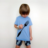 Children's Foodie Tshirt in Baby Blue / Youth 8 or 10 by Xenotees