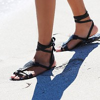 Free People Womens Oliviera Wrap Sandal